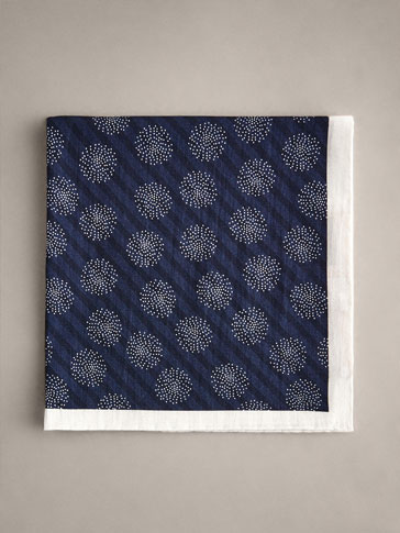 PERSONAL TAILORING COTTON PRINTED NAVY POCKET SQUARE
