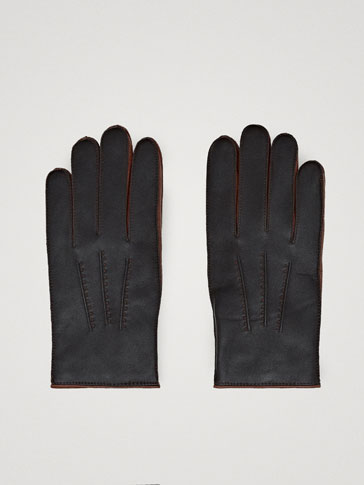 TWO-TONE NAPPA LEATHER GLOVES