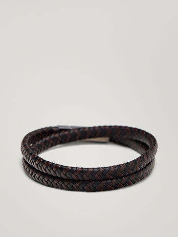 DOUBLE-STRAND BRAIDED LEATHER BRACELET