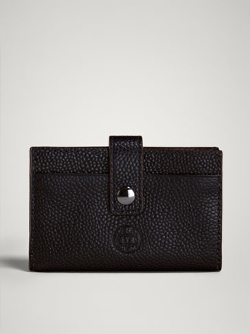 Limited Edition Embossed Leather Card Holder by Massimo Dutti