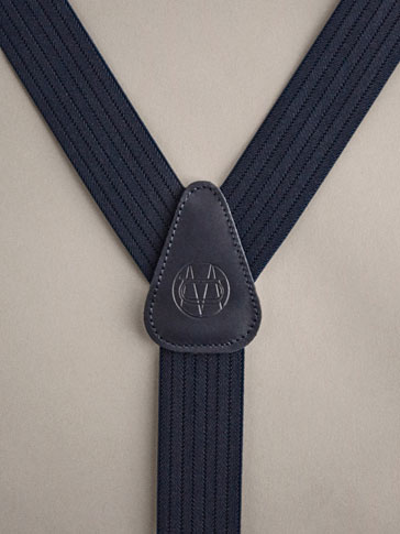 PERSONAL TAILORING EMBOSSED NAVY BLUE LEATHER BRACES