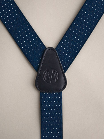 PERSONAL TAILORING NAVY BLUE PINDOT LEATHER BRACES