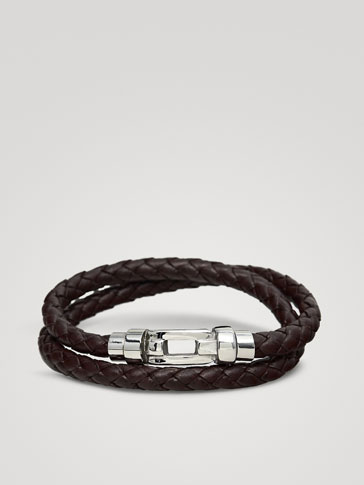 DOUBLE TUBULAR BRAIDED LEATHER BRACELET