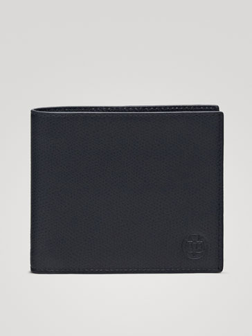 NAVY EMBOSSED LEATHER WALLET