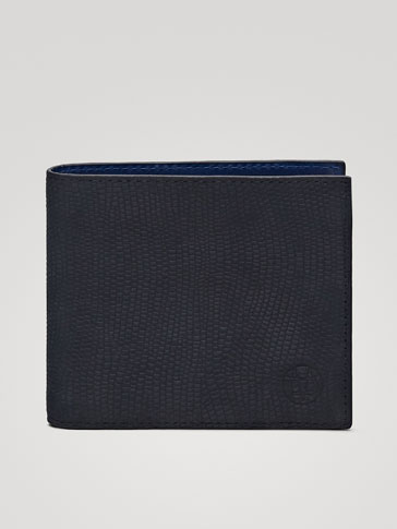 TWO-TONE TEXTURED NUBUCK LEATHER WALLET