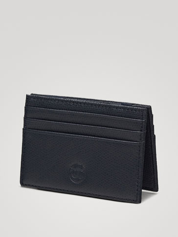 NAVY EMBOSSED LEATHER MAGIC CARD HOLDER