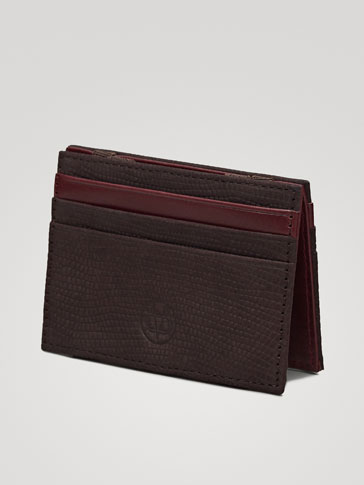 TWO-TONE TEXTURED NUBUCK LEATHER CARD HOLDER