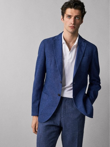 SLIM FIT DYED COTTON BLAZER