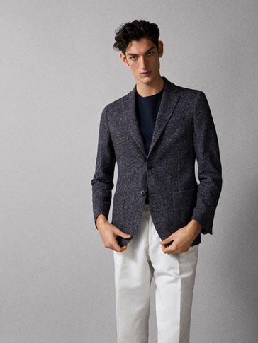 TRICOT BLAZER MET CHEVIOT LOOK SLIM FIT
