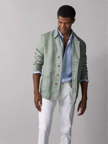 SLIM FIT DYED 100% LINEN BLAZER