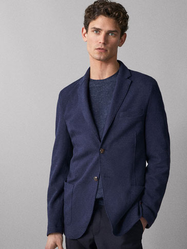SLIM FIT TEXTURED NAVY BLUE COTTON WOOL BLAZER