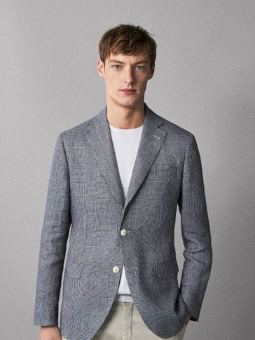 SLIM FIT CHECK 100% LINEN BLAZER
