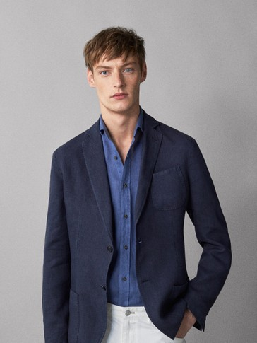 SLIM FIT DYED NAVY BLUE 100% LINEN BLAZER