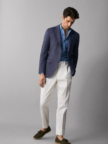 SLIM FIT TWO-TONE KNIT COTTON BLAZER