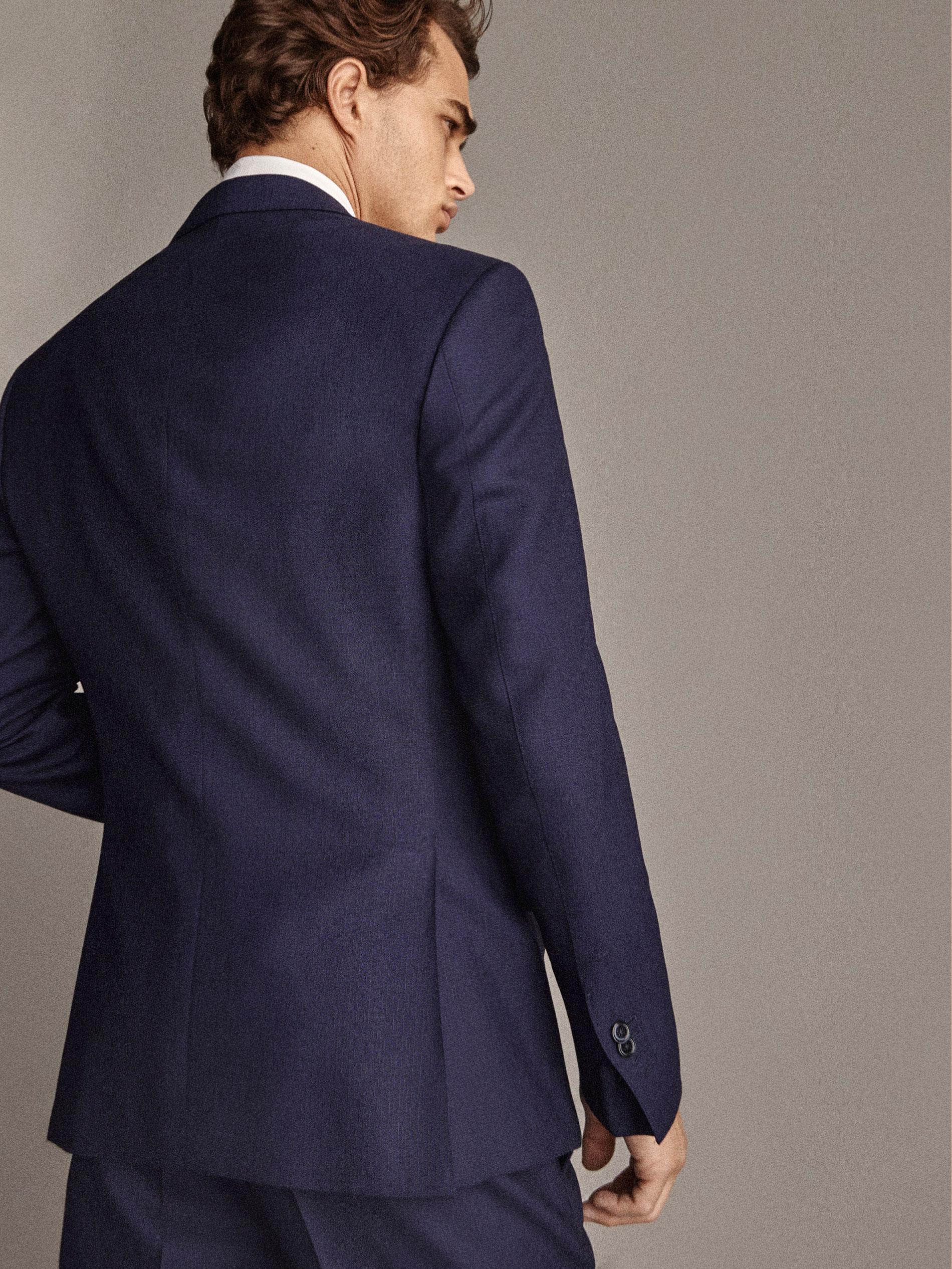 Texturée Laine Semi Bleu Tailoring Personal Slim Marine Entoilée BxqdYZY