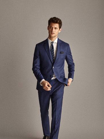 PERSONAL TAILORING SLIM FIT 100% WOOL NAVY CHECK HALF-CANVAS BLAZER