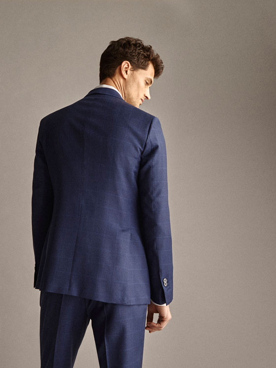 Massimo Dutti - PERSONAL TAILORING SLIM FIT 100% WOOL NAVY CHECK HALF-CANVAS BLAZER - 3