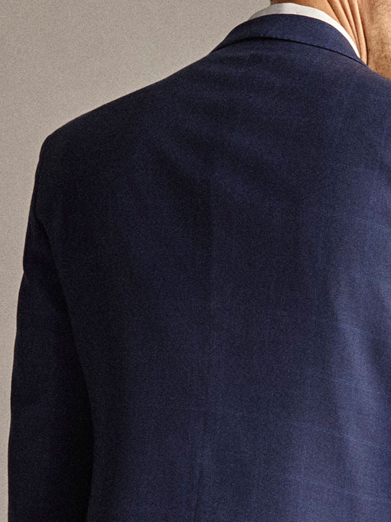 Massimo Dutti - PERSONAL TAILORING SLIM FIT 100% WOOL NAVY CHECK HALF-CANVAS BLAZER - 5