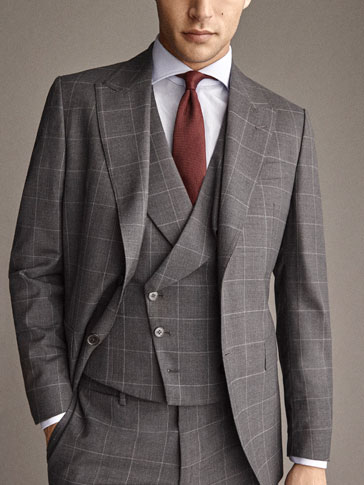 PERSONAL TAILORING SLIM FIT 100% WOOL CHECK HALF-CANVAS BLAZER