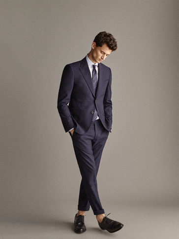 PERSONAL TAILORING SLIM FIT 100% WOOL NAVY HALF-CANVAS BLAZER IN CHECK TEXTURE