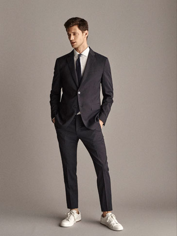 GESTREEPTE WOLLEN BLAZER SLIM FIT TRAVEL SUIT