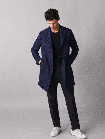 Navy Blue Slim Fit Check Wool Coat by Massimo Dutti