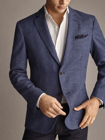 Slim Fit Check Wool/Linen Blazer by Massimo Dutti