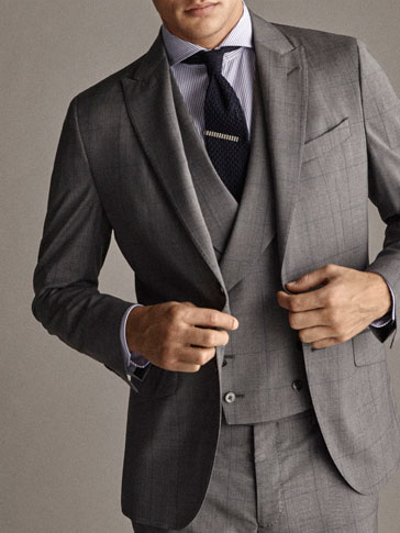 Travel Suit Slim Fit Check Wool Blazer by Massimo Dutti