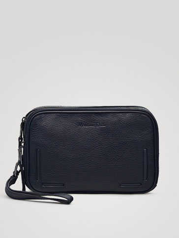 NAVY MONTANA LEATHER TOILETRY BAG