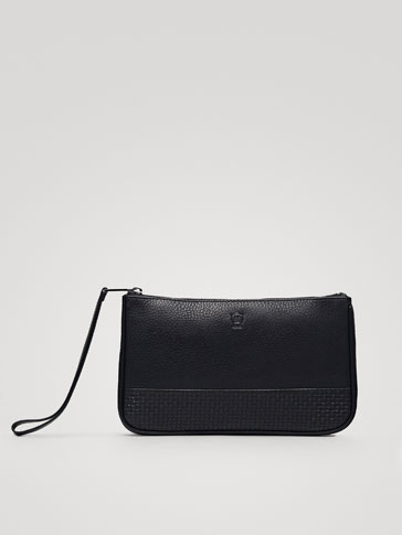 BLACK EMBOSSED MONTANA LEATHER CLUTCH