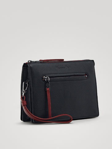 CONTRAST LEATHER TOILETRY BAG