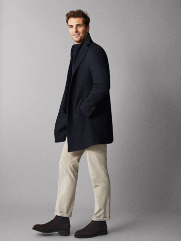 SLIM FIT TEXTURED WOOL COAT WITH REMOVABLE LINING