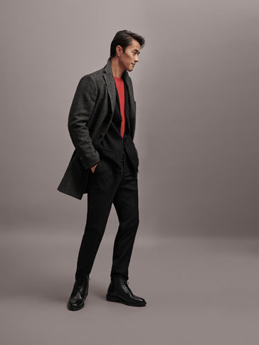 SLIM FIT HERRINGBONE WOOL COAT