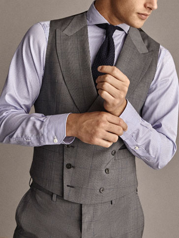 Travel Suit Slim Fit Check Wool Waistcoat by Massimo Dutti