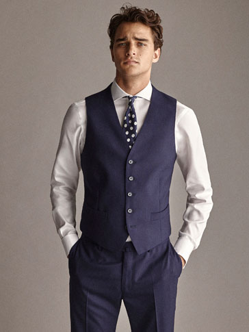 PERSONAL TAILORING SLIM FIT 100% WOOL NAVY BLUE TEXTURED WAISTCOAT