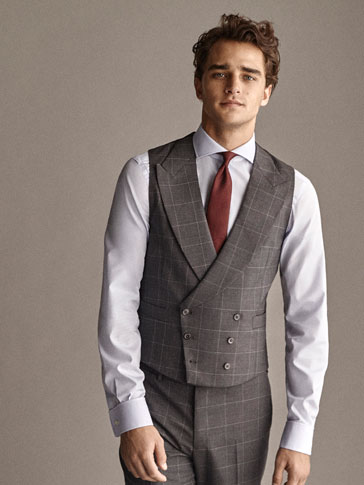 PERSONAL TAILORING SLIM FIT 100% WOOL CHECK WAISTCOAT