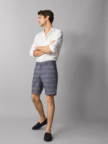 CHECK COTTON BERMUDAS