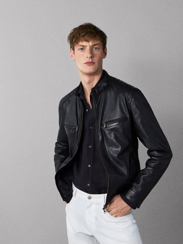 BLACK NAPPA SEAMED JACKET