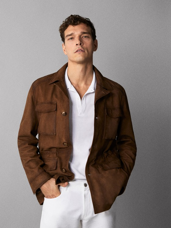 Massimo Dutti - NOBUCK LEATHER JACKET WITH POCKETS - 1