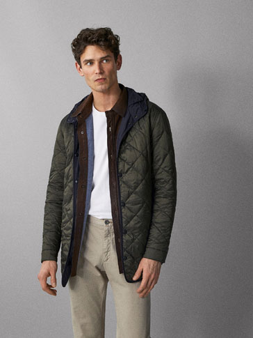 REVERSIBLE NAVY QUILTED PARKA