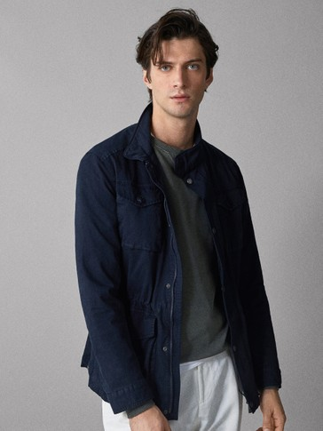 NAVY BLUE COTTON JACKET WITH POCKETS