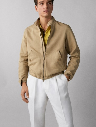 LINEN COTTON BOMBER JACKET