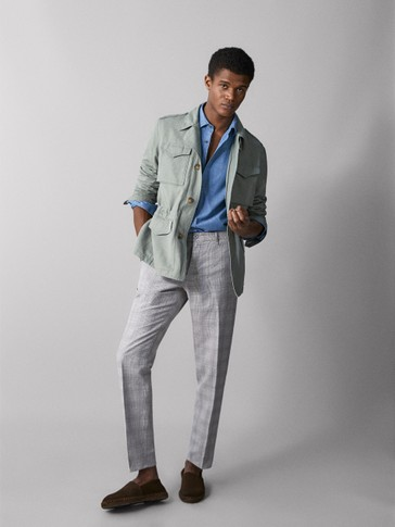 COTTON/LINEN JACKET WITH POCKETS