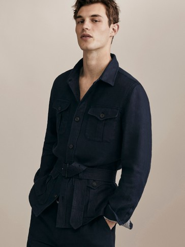 LIMITED EDITION SLIM FIT NAVY BLUE 100% LINEN JACKET WITH POCKETS