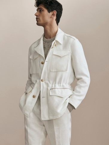 LIMITED EDITION SLIM FIT 100% LINEN JACKET WITH POCKETS AND PIPING