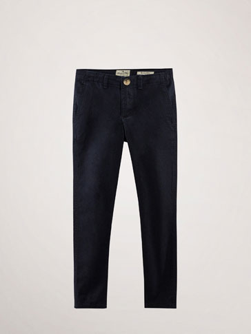 SLIM FIT NAVY BLUE CHINO TROUSERS
