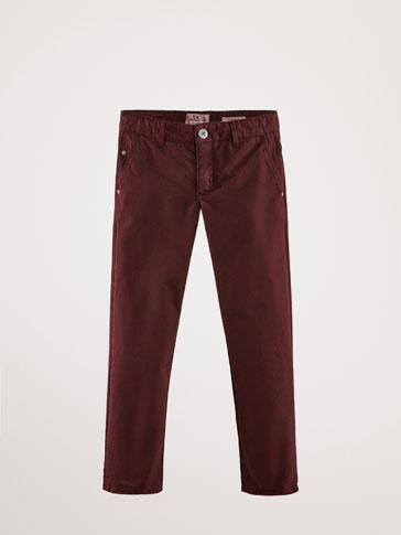 REGULAR FIT PLAIN COTTON TROUSERS