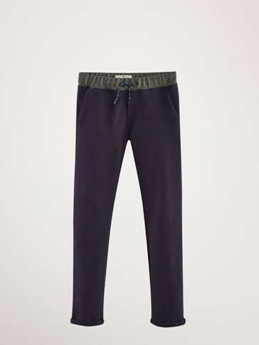 TEXTURED NAVY BLUE COTTON JOGGING TROUSERS
