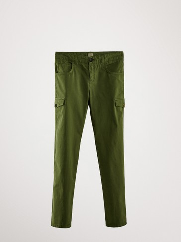 REGULAR FIT COTTON TROUSERS WITH CARGO POCKET