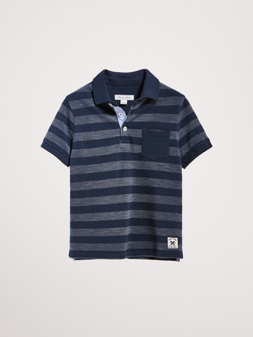 STRIPED COTTON POLO SHIRT WITH POCKET